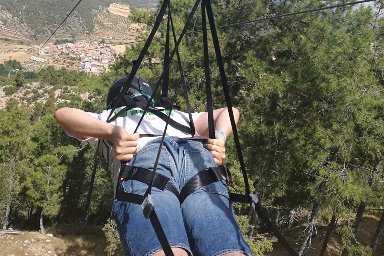 Tirolina Fuentespalda en el Matarraña